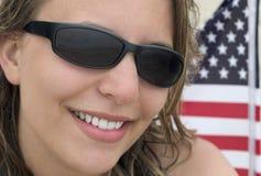 flaggakvinna royaltyfria bilder