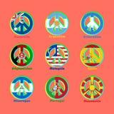 Flaggaländer av världen som ett tecken av pacifism stock illustrationer