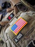 Flaggalapp för LBT 6094A SLICK Plate Carrier och USA Arkivfoto