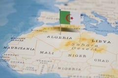 Flaggan av Algeriet i världskartan arkivbild