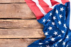 Flaggan av Amerika gjorde av silke Arkivbilder