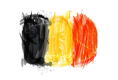 Flaggan av Belgien gjorde med färgrika färgstänk Royaltyfria Bilder
