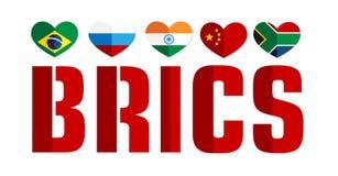 Flaggan av BRICS-länderna färgar rengöringsduksymbolen stock illustrationer