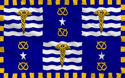Flaggan av Brisbane är huvudstaden av Queensland i Australien arkivfoto
