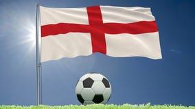 Flaggan av England att fladdra och en fotboll rullar på gräsmattan, 3d tolkningen, längd i fot räknat 4k lager videofilmer