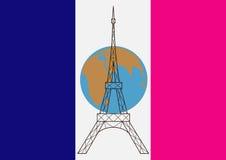 Flaggan av Frankrike, planeten och Eiffeltorn Arkivfoto