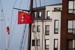 Flaggan av Gdansk Arkivbilder