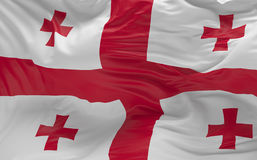 Flaggan av Georgia som vinkar i vinden 3d, framför Royaltyfria Bilder