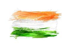 Flaggan av Indien gjorde med isolerade färgrika färgstänk på vit bakgrund Arkivbilder
