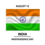 Flaggan av Indien Representantfärger och proportion korrekt Vektorflagga av Indien som framkallar i vinden Indisk självständighet Arkivfoto