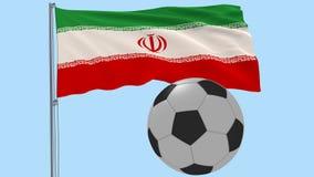 Flaggan av Iran på en flaggstång som fladdrar i vinden på en genomskinlig blå bakgrund, 3d tolkningen, PNG-format med ALFABETISK,