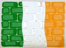 Flaggan av Irland målade på väggen Fotografering för Bildbyråer