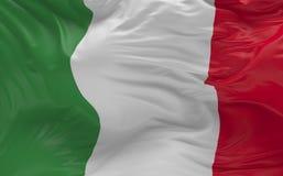 Flaggan av Italien som vinkar i vinden 3d, framför Arkivbild