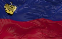 Flaggan av Liechtenstein som vinkar i vinden 3d, framför Arkivbilder