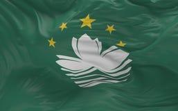 Flaggan av Macao som vinkar i vinden 3d, framför Royaltyfri Foto