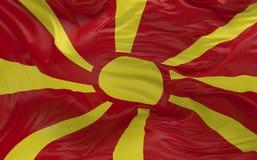 Flaggan av Makedonien som vinkar i vinden 3d, framför Royaltyfri Foto