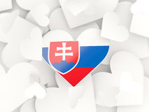 Flaggan av Slovakien, hjärta formade klistermärkear royaltyfri illustrationer