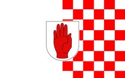 Flaggan av ståndsmässiga Tyrone är ett län i Irland stock illustrationer