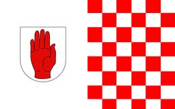 Flaggan av ståndsmässiga Tyrone är ett län i Irland royaltyfri bild
