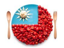 Flaggan av Taiwan gjorde av tomaten och sallad Royaltyfri Bild