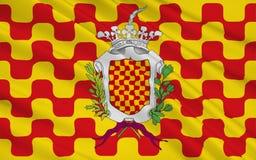 Flaggan av Tarragona är huvudstaden av det Tarragona landskapet av ea royaltyfri illustrationer