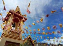Flaggan av tempelfestivalen i Thailand arkivfoto