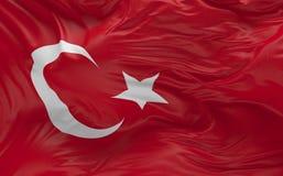 Flaggan av Turkiet som vinkar i vinden 3d, framför Arkivfoton