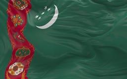 Flaggan av Turkmenistan som vinkar i vinden 3d, framför Royaltyfria Bilder
