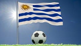 Flaggan av Uruguay att fladdra och en fotboll rullar på gräsmattan, 3d tolkningen, längd i fot räknat 4k