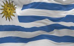 Flaggan av Uruguay som vinkar i vinden 3d, framför Royaltyfri Foto