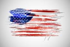Flaggan av USA gjorde med färgrika färgstänk på vit bakgrund Arkivbilder