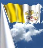 Flaggan av Vatican City adopterades på Juni 7, 1929, årspåven Pius som XI undertecknade det Lateran fördraget med Italien som ska Royaltyfri Bild