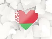 Flaggan av Vitryssland, hjärta formade klistermärkear royaltyfri illustrationer