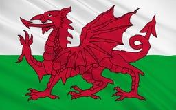 Flaggan av Wales är landet av Förenade kungariket, Storbritannien arkivfoto