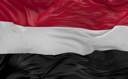Flaggan av Yemen som vinkar i vinden 3d, framför Royaltyfri Bild