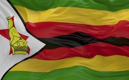 Flaggan av Zimbabwe som vinkar i vinden 3d, framför Arkivfoton