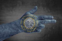 Flaggan för USA-staten av South Dakota målade på den manliga handen som ett vapen arkivfoton