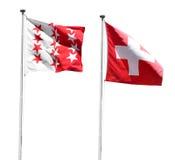 flaggaschweizare wallis Royaltyfri Foto