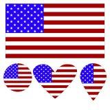 Flaggasymbol, hjärta, cirkel, en pekare, i form av en flagga av Amerika royaltyfri illustrationer