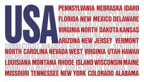 flaggatillstånd oss USA-ord royaltyfri illustrationer