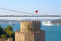 Flaggatorn av det Rumeli slottet Royaltyfri Foto