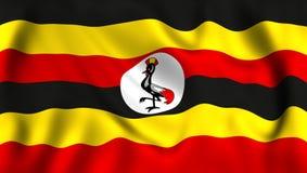 FlaggaUganda vinkande symbol stock illustrationer