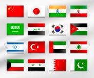Flaggauppsättning av Asien 1 Arkivbild