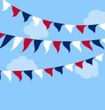 FlaggaUSA uppsättning som Bunting röda vitblått för beröm Arkivbild