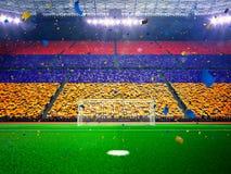 Flagge Armenien von Fans Abendstadions-Arena Blau lizenzfreie stockbilder