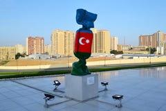 Flagge Aserbaidschans Stockfoto