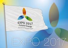 Flagge Astana der Ausstellung 2017 Lizenzfreies Stockbild