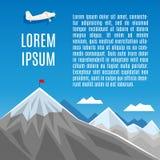 Flagge auf Bergspitze-, Erfolgs- oder Geschäftskonzeptillustration Lizenzfreie Stockfotos