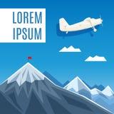 Flagge auf Bergspitze-, Erfolgs- oder Geschäftskonzeptillustration Lizenzfreie Stockbilder