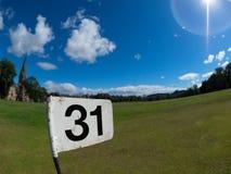 Flagge auf Bruntsfield-Kurzschluss-Loch-Golfclub Stockbilder